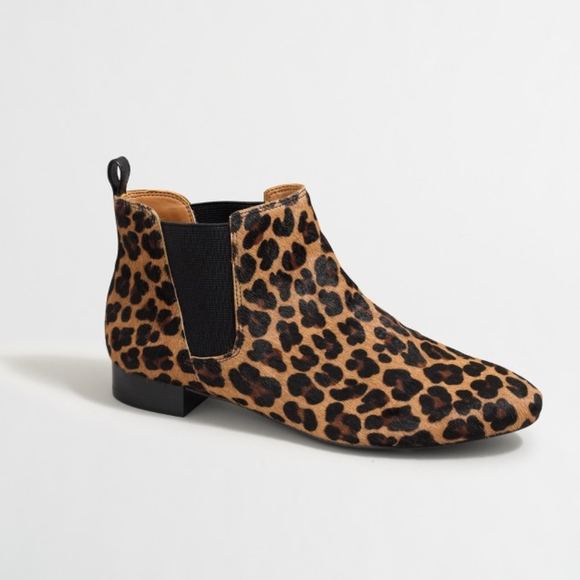 9760acdcb1778 J. Crew Factory Shoes | Jcrew Chelsea Boots Leopard Print Calf Hair ...